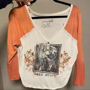 Free people quarter sleeve graphic tee